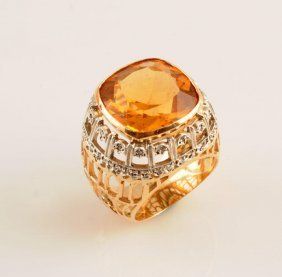 14K GOLD AND CITRINE