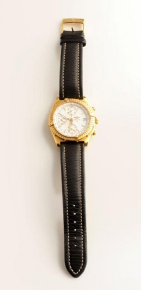 18K Yellow Gold (stamped) Men�s Chronograph, White Dial
