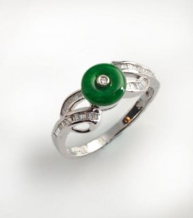 18K White Gold Ring, Set With One Round Jade And Small