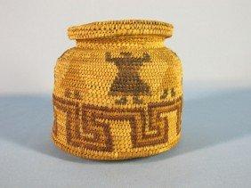 Pima-Papago Polychrome Lidded Basket
