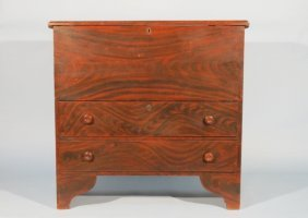 New England Pine & Cedar Faux Painted Chest 1830's