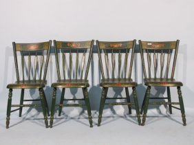 Set Of Four Pennsylvania Painted Plank Seat Chairs