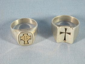 Two James Avery Man's Rings Cross Design