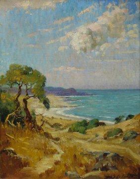 Oil On Canvas Coastal Scene By Frank Linton