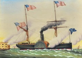 Watercolor On Paper Of American Steamship