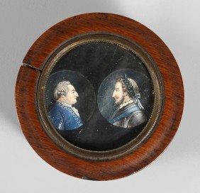 Henri IV Et Louis XVI, Rois De France. Boite Ronde E