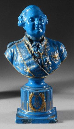 Louis XVI, Roi De France. Buste En Porcelaine Bleu,