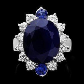 14k White Gold 11ct Sapphire 1.50ct Diamond Ring