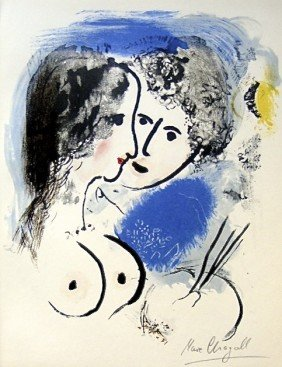 """Marc CHAGALL, Signed Original Lithograph, """"Les Amour"""