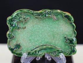 Green Glass Glazed Brush Licker