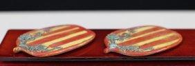 Pair Of Polychrome Glazed Brush Licker