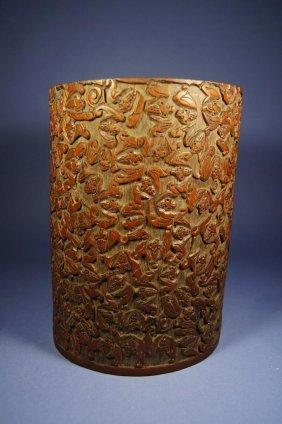 Chinese Antique Bamboo Brush Pot; Bats