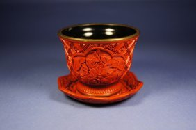 Chinese Antique Cinnabar Wine Cup And Plate