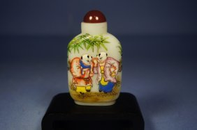 Chinese Antique Painted Glass Snuff Bottle