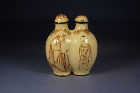 Chinese Antique Double Porcelain Snuff Bottle