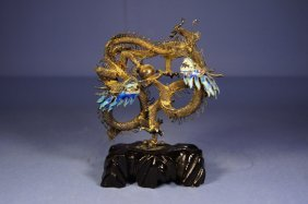 Chinese Antique Silver Dragon Statue
