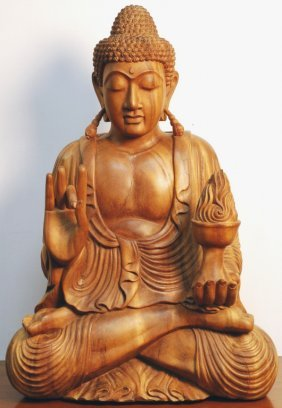 Highly Carved Wood Buddha