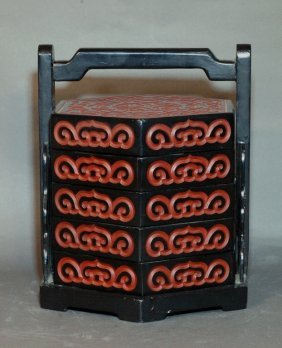 Lacquered Five-Tier Food Container
