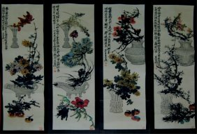 Set Of Four Chinese Paintings - Flowers