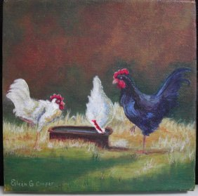 """Eileen Cooper (20th-21st C.).  """"Chickens,"""" Acrylic O"""