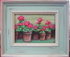 "Janine Harrigan (20th-21st C.).  ""My Geraniums,"" Ac"