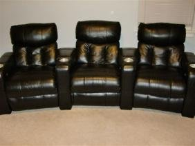 3 Leather Recliner Home Theater Seats, Black Leather
