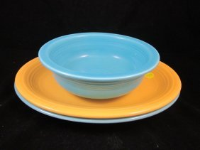 TWO VINTAGE FIESTA OVAL PLATTERS CIRCA 1938-1969, A