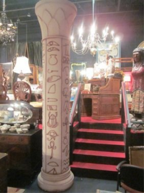 HUGE PAIR OF EGYPTIAN STYLE COLUMNS, APPROX 12 FT T