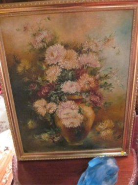 """OIL PAINTING ON CANVAS, FLORAL STILL LIFE, SIGNED """""""