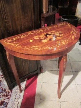 MADE IN ITALY INLAID DEMILUNE MUSIC BOX