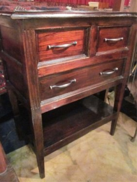 #1 OF TWO AVAILABLE DARK WOOD 3 DRAWER CHESTS, EACH