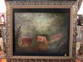 FINELY PAINTED VINTAGE PASTORAL LANDSCAPE WITH COW