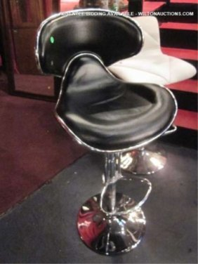 NEW, NEVER USED BLACK LEATHER BARSTOOL WITH CURVED