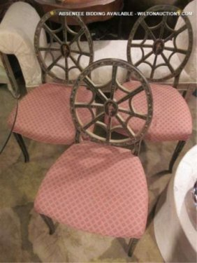 3 PC SET VINTAGE CHAIRS WITH SPIDER WEB BACKS, INTR