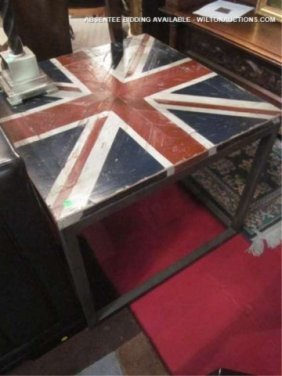 NEW, NEVER USED CONTEMPORARY TABLE WITH BRITISH FLA