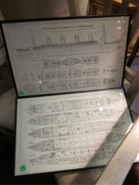 "FRAMED TITANIC DECK PLANS, APPROX 11 1/4"" X 17 1/4"""