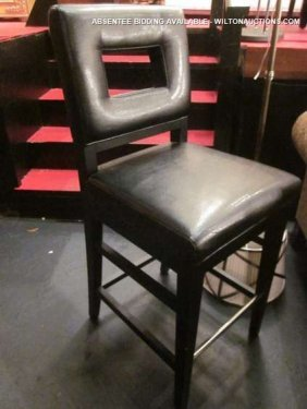 NEW, NEVER USED BLACK LEATHER BARSTOOL WITH CUTOUT B
