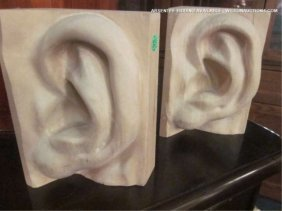 "CARVED WOOD EAR SHAPED BOOKENDS, APPROX 10"" H"