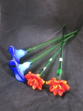MURANO ART GLASS FLOWERS - TWO RED & TWO BLUE, APPR
