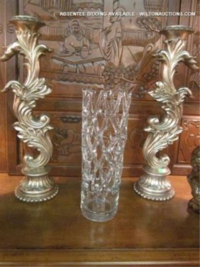 PAIR OF LARGE ORNATE PILLAR CANDLE HOLDERS, SILVER