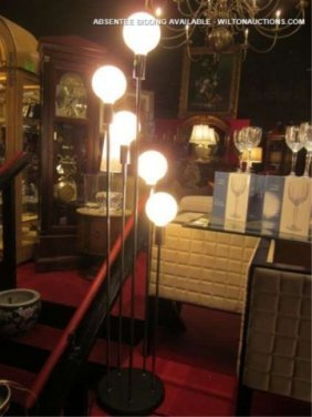 CONTEMPORARY 5 GLOBE FLOOR LAMP, APPROX 5 FT TALL