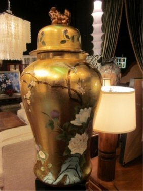 "HUGE GOLD FINISH CHINESE URN WITH LID, APPROX 32"" H"