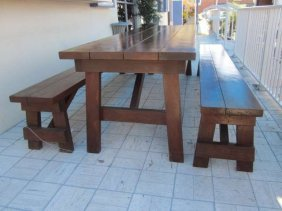 BEAUTIFUL INDOOR OR OUTDOOR PICNIC TABLE AND PAIR OF
