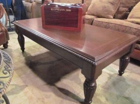 TRADITIONAL STYLE DARK WOOD COFFEE TABLE, APPROX 4'L
