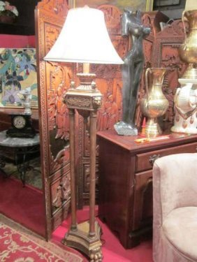 ORNATE FLOOR LAMP, 3 COLUMNS WITH LION'S HEAD ACCEN