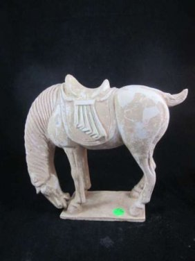 ANTIQUE CHINESE TANG STYLE POTTERY HORSE, MINOR CHI