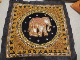 MADE IN INDIA EMBROIDERED PILLOWCASE WITH ELEPHANT D