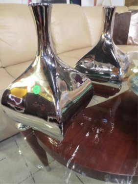 """PAIR CHROME FINISH CONTEMPORARY VASES, APPROX 12"""" H"""