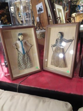 """PAIR OF FRAMED PUPPETS, APPROX 20"""" X 13"""" FRAMED"""