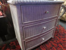 WHITE WICKER 3 DRAWER CHEST, APPROX 4'L